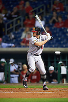 Maryland Terrapins catcher Justin Morris (10) at bat during a game against the Louisville Cardinals on February 18, 2017 at Spectrum Field in Clearwater, Florida.  Louisville defeated Maryland 10-7.  (Mike Janes/Four Seam Images)