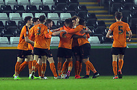 Pictured: Duckens Nazon of Wolverhampton Wanderers celebrates his goal with team mates making the score 1-2 Monday 13 March 2017<br /> Re: Premier League 2, Swansea City U23 v Wolverhampton Wanderers FC at the Liberty Stadium, Swansea, UK