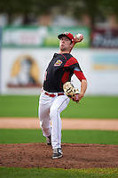 Batavia Muckdogs relief pitcher Travis Neubeck (13) during a game against the Hudson Valley Renegades on July 31, 2016 at Dwyer Stadium in Batavia, New York.  Hudson Valley defeated Batavia 4-1. (Mike Janes/Four Seam Images)