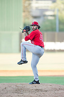 AZL Angels relief pitcher Austin Krzeminski (40) delivers a pitch during a game against the AZL Indians on August 7, 2017 at Tempe Diablo Stadium in Tempe, Arizona. AZL Indians defeated the AZL Angels 5-3. (Zachary Lucy/Four Seam Images)