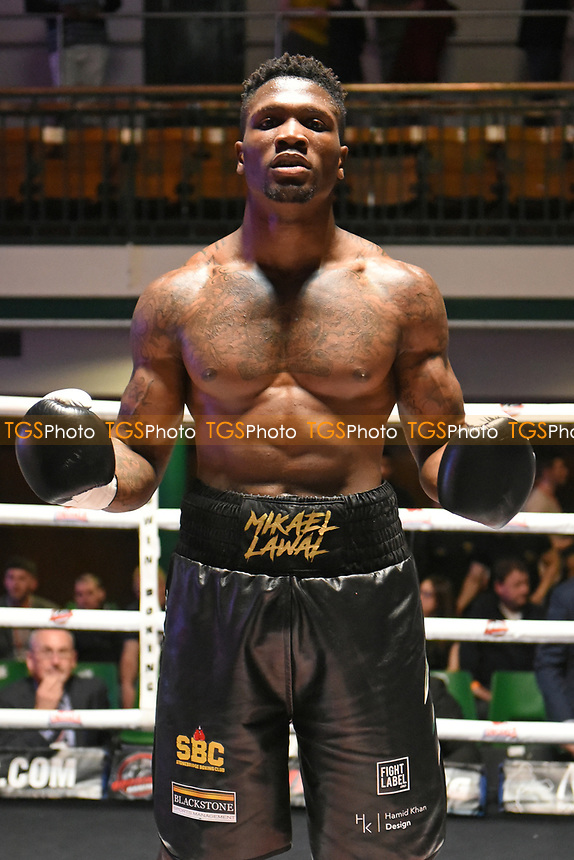 Mikael Lawal defeats Jinrich Velecky during a Boxing Show at York Hall on 22nd April 2017