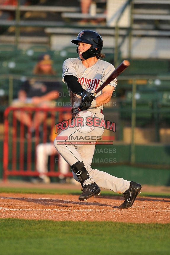 Wisconsin Timber Rattlers center fielder Zach Clark (7) swings at a pitch against the Burlington Bees at Community Field on June 12, 2018 in Burlington, Iowa. The Bees won 3-2.  (Dennis Hubbard/Four Seam Images)