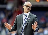 Washington, DC - MAR 10, 2018: Rhode Island Rams head coach Dan Hurley isn't happy with a foul called during semi final match up of the Atlantic 10 men's basketball championship between Saint Joseph's and Rhode Island at the Capital One Arena in Washington, DC. (Photo by Phil Peters/Media Images International)