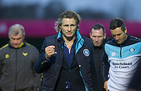 Wycombe Wanderers Manager Gareth Ainsworth walks off at HT during the Sky Bet League 2 match between Wycombe Wanderers and Oxford United at Adams Park, High Wycombe, England on 19 December 2015. Photo by Andy Rowland.
