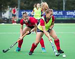 AMSTELVEEN  - warming up , Mila Muyselaar (Lar)  , hoofdklasse hockeywedstrijd dames Pinole-Laren (1-3). COPYRIGHT  KOEN SUYK