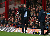 2nd December 2017, Griffen Park, Brentford, London; EFL Championship football, Brentford versus Fulham; Fulham Manager Slavisa Jokanovic complaining from the touchline with Brentford Manager Dean Smith looking on