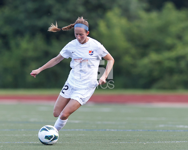 Sky Blue FC midfielder Manya Makoski (22) brings the ball forward.  In a National Women's Soccer League (NWSL) match, Boston Breakers (blue) defeated Sky Blue FC (white), 3-2, at Dilboy Stadium on June 30, 2013.