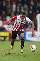 Liam Davis of Cheltenham Town during the Sky Bet League 2 match between Cheltenham Town and Cambridge United at the LCI Stadium, Cheltenham, England on 18 March 2017. Photo by Mark  Hawkins / PRiME Media Images.