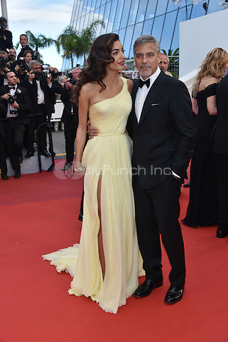 George Clooney and wife Amal Clooney at Money Monster screening during the 69th International Cannes Film Festival, France May 12, 2016.<br /> CAP/PL<br /> &copy;Phil Loftus/Capital Pictures /MediaPunch ***NORTH AND SOUTH AMERICA ONLY***