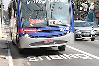 SAO PAULO, SP, 18.08.2014 - FAIXA ONIBUS ANCHIETA - Faixa de onibus que passou a funcionar hoje na Via Anchieta no bairro do Ipiranga na regiao sul de Sao Paulo, nesta segunda-feira, 18. (Foto: Carlos Pessuto / Brazil Photo Press).