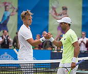 June 11th 2017, Nottingham, England; ATP Aegon Nottingham Open Tennis Tournament day 2;  Lloyd Glasspool of Great Britain on the left defeats Alejandro Falla of Columbia in three sets
