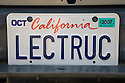 A close up of 'LECTRUC' (Electric Truck) license plate. At an Electric Vehicle Rally in Palo Alto, hosted by the Silicon Valley Chapter of the Electric Auto Association. Palo Alto, California, USA