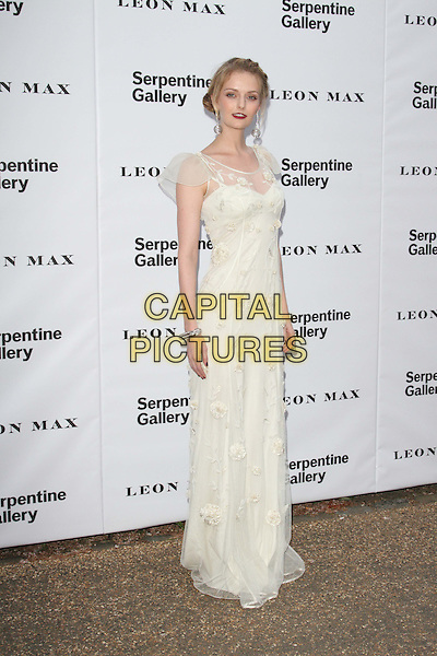 Lydia Hearst.Serpentine Galley Summer Party, Kensington Palace Gardens, London, England..26th June 2012.full length white lace dress  .CAP/ROS.©Steve Ross/Capital Pictures.