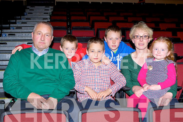 John, Beirne, Aidan, Callum, Eoin, Caroline Sheehan Glenflesk at  the dancing finals at the Oireactas in the INEC on Saturday