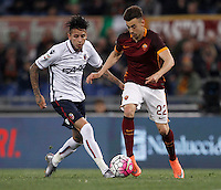 Calcio, Serie A: Roma vs Bologna. Roma, stadio Olimpico, 11 aprile 2016.<br /> Roma&rsquo;s Stephan El Shaarawy, right, is challenged by Bologna&rsquo;s Erick Pulgar during the Italian Serie A football match between Roma and Bologna at Rome's Olympic stadium, 11 April 2016.<br /> UPDATE IMAGES PRESS/Isabella Bonotto