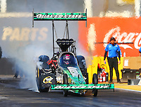Feb 3, 2016; Chandler, AZ, USA; NHRA top fuel driver Leah Pritchett during pre season testing at Wild Horse Pass Motorsports Park. Mandatory Credit: Mark J. Rebilas-USA TODAY Sports