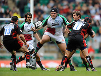 Twickenham, GREAT BRITAIN, Quins, Mike ROSS,  scoops in the ball, during the Guinness Premiership match,  Saracens vs Harlequins, at Twickenham Stadium, Surrey on Sat 06.09.2008. [Photo, Peter Spurrier/Intersport-images]