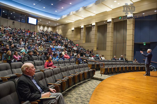 Dec. 5, 2014; Rick Lenny, former Chairman, President and Chief Executive Officer of the Hershey Company, speaks in Jordan Auditorium as part of the Mendoza College of Business' 'Boardroom Insights' lecture series. (Photo by Barbara Johnston/University of Notre Dame)