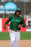 Beloit Snappers shortstop Eric Marinez (2) pulls into third base during a Midwest League game against the Peoria Chiefs on April 15, 2017 at Pohlman Field in Beloit, Wisconsin.  Beloit defeated Peoria 12-0. (Brad Krause/Four Seam Images)