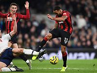 30th November 2019; Tottenham Hotspur Stadium, London, England; English Premier League Football, Tottenham Hotspur versus AFC Bournemouth; Callum Wilson of Bournemouth is blocked from getting his shot away by a tackle from Vertonghen of Spurs - Strictly Editorial Use Only. No use with unauthorized audio, video, data, fixture lists, club/league logos or 'live' services. Online in-match use limited to 120 images, no video emulation. No use in betting, games or single club/league/player publications