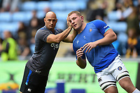 Bath Rugby Strength and Conditioning Coach Matt Pickard and Sam Underhill during the pre-match warm-up. Aviva Premiership match, between Wasps and Bath Rugby on October 1, 2017 at the Ricoh Arena in Coventry, England. Photo by: Patrick Khachfe / Onside Images