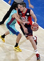 Caja Laboral Baskonia's Nemanja Bjelica (r) and FC Barcelona Regal's Juan Carlos Navarro during Spanish Basketball King's Cup semifinal match.February 07,2013. (ALTERPHOTOS/Acero) /NortePhoto
