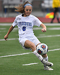Freeburg midfielder Peyton Ganz carries the ball downfield. Roxana High School played a girls soccer game at Freeburg High School on Thursday May 3, 2018. Tim Vizer | Special to STLhighschoolsports.com