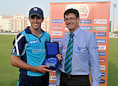 T20 World Cup Qualifying match - Scotland V Kenya at ICC Global Cricket Academy - Dubai - Scotland's Calum MacLeod collects the Man of the Match award after the game - MacLeod scored 55 off 35 balls and helping his side win by 14 runs - Picture by Donald MacLeod  13.3.12  07702 319 738  clanmacleod@btinternet.com