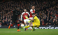 Arsenal's Pierre-Emerick Aubameyang goes close in the second half<br /> <br /> Photographer Rob Newell/CameraSport<br /> <br /> Football - UEFA Europa League Round of 16 Leg 2 - Arsenal v Rennes - Thursday 14th March 2019 - The Emirates - London<br />  <br /> World Copyright © 2018 CameraSport. All rights reserved. 43 Linden Ave. Countesthorpe. Leicester. England. LE8 5PG - Tel: +44 (0) 116 277 4147 - admin@camerasport.com - www.camerasport.com