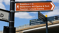 Signage on Ealing Road directs traffic and pedestrians to Brentford FC during Brentford vs Swansea City, Sky Bet EFL Championship Play-Off Semi-Final 2nd Leg Football at Griffin Park on 29th July 2020