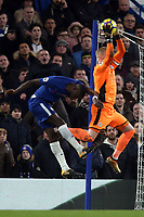 Kasper Schmeichel of Leicester city and Ngolo Kante of Chelsea during Chelsea vs Leicester City, Premier League Football at Stamford Bridge on 13th January 2018