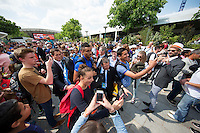 Paris, France, 25 June, 2016, Tennis, Roland Garros, Nick Kyrgios (AUS) is escorted throu the fans after his match against Igor Sijsling (NED)<br />