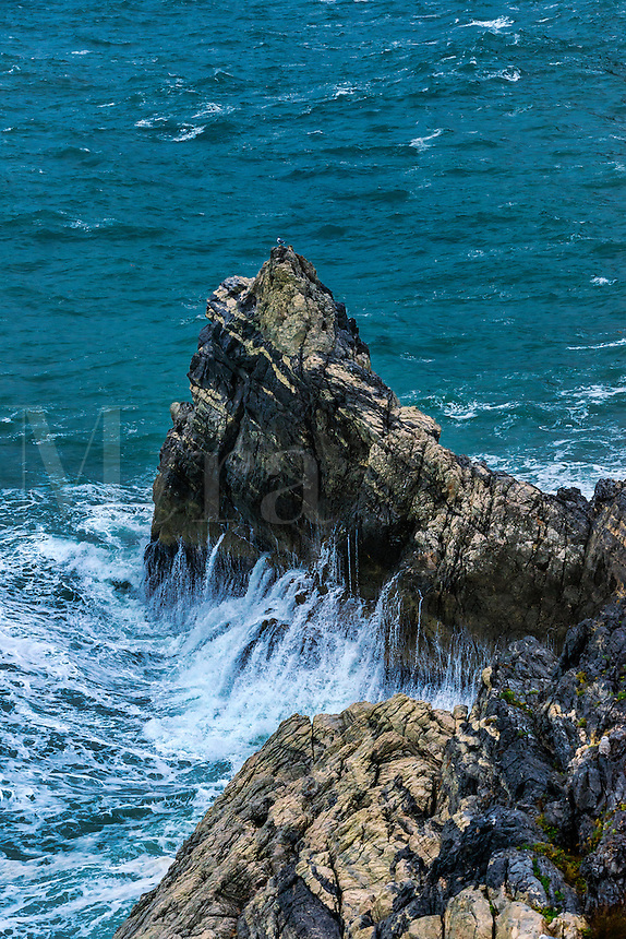 Rough sea and rugged Ligurian coast, Italy