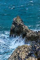 Rough sea and rugged Ligurian coast, Italy