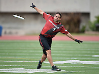 May 24, 2015; Los Angeles, CA, USA; Los Angeles Aviators defensive handler Dan Bellinger (5) against the San Francisco Flamethrowers in an American Ultimate Disc League (AUDL) match at Occidental College. The Aviators defeated the Flamethrowers 23-22. <br /> <br /> Photo by Kirby Lee