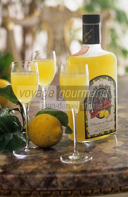 """Europe/Italie/Côte Amalfitaine/Campagnie/Ravello : Service du Limoncello (liqueur à base citron) dans les salons de l'hôtel """"Palazzo Sasso"""" via San Giovanni del Toro"""