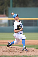 Nick Scheidler (44) of the of UCLA Bruins pitches against the University of San Diego Toreros at Jackie Robinson Stadium on March 4, 2017 in Los Angeles, California.  USD defeated UCLA, 3-1. (Larry Goren/Four Seam Images)