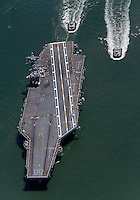 aerial photograph USS Nimitz aircraft carrier San Francisco Bay, California