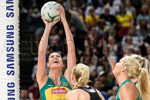 09.10.2016. Qudos Bank Arena, Sydney, Australia. Constellation Cup Netball. Australia Diamonds versus New Zealand Silver Ferns. Australias Caitlin Bassett scores yet againmore points. Australia won the game 68-56.