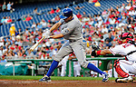 21 June 2010: Kansas City Royals left fielder Scott Podsednik smacks a double in the third inning against the Washington Nationals at Nationals Park in Washington, DC. The Nationals edged out the Royals 2-1 to take the first game of their 3-game interleague series and snap a 6-game losing streak. Mandatory Credit: Ed Wolfstein Photo