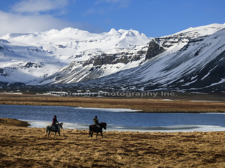 People horseback riding,Snaefellsnes National Park,Iceland