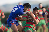Amosa Nove tries to rip the ball out of Jeff Tupu's grasp. Counties Manukau Premier Club Rugby game between Waiuku and Ardmore Marist, played at Waiuku on Saturday June 4th 2016. Ardmore Marist won 46 - 3 after leading 39 - 3 at Halftime. Photo by Richard Spranger.