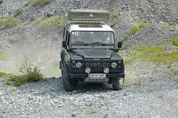 Austria, Boesenstein Offroad Classic, Hohentauern, Steiermark, 25-26.06.2005. Land Rover Defender 110 Station Wagon TD5, with family and roof tent, Reg: W47ADP. --- No releases available. Automotive trademarks are the property of the trademark holder, authorization may be needed for some uses.