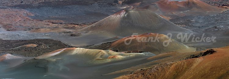 Multi colores lava cinder cones and multiple lava flows characterize the crater of Haleakala National Park on Maui in Hawaii USA