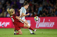 Orlando City, FL - Wednesday March 07, 2018: Lindsey Horan, Ellen White during a 2018 SheBelieves Cup match between the women's national teams of the United States (USA) and England (ENG) at Orlando City Stadium.
