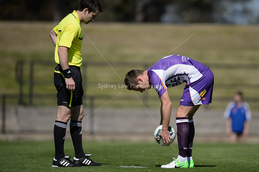 MELBOURNE - 22 September: Shane SMELTZ of the Glory places the ball for a penalty at a pre-season match between Melbourne Heart and Perth Glory at Epping Stadium on 22 September 2012. (Photo by Sydney Low / syd-low.com)