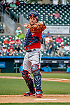 1 March 2019: Washington Nationals pitcher Yan Gomes warms up his pitcher prior to a Spring Training game against the Miami Marlins at Roger Dean Stadium in Jupiter, Florida. The Nationals defeated the Marlins 5-4 in Grapefruit League play. Mandatory Credit: Ed Wolfstein Photo *** RAW (NEF) Image File Available ***
