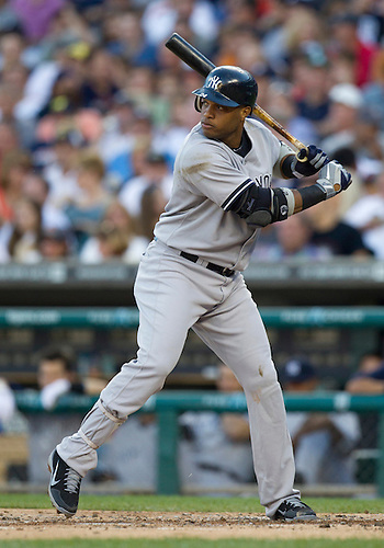 August 06, 2012:  New York Yankees second baseman Robinson Cano (24) at bat during MLB game action between the New York Yankees and the Detroit Tigers at Comerica Park in Detroit, Michigan.  The Tigers defeated the Yankees 7-2.