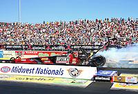 Sep 29, 2013; Madison, IL, USA; NHRA top fuel dragster driver David Grubnic during the Midwest Nationals at Gateway Motorsports Park. Mandatory Credit: Mark J. Rebilas-