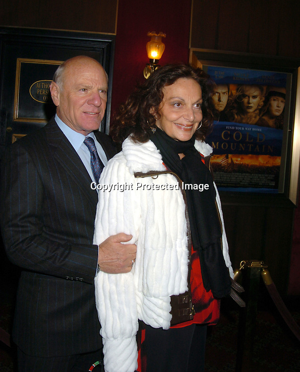"Barry Diller and wife Diane Von Furstenberg..at the New York premiere of "" Cold Mountain"" at the ..Ziefeld theatre on December 9, 2003.  Photo by Robin Platzer, Twin Images"